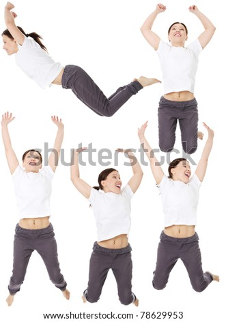 Young happy middle aged caucasian woman jumping in the air , isolated on white background - stock photo