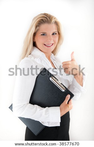 Young happy office worker with a folder