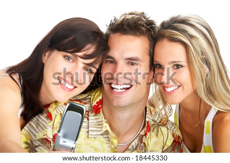 Young happy people with a cellphone. Isolated ver white background