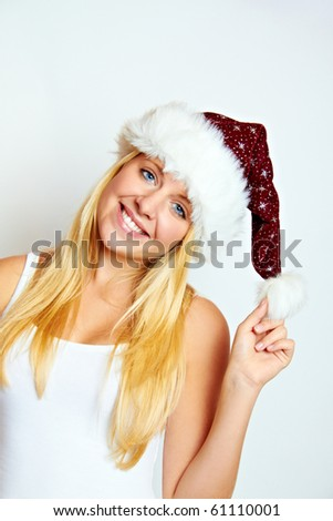 young happy smiling blond christmas woman - stock photo