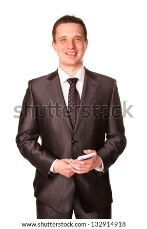 Young happy smiling businessman counting money isolated on white background - stock photo