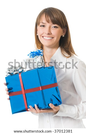 Young happy smiling businesswoman with gifts, isolated on white