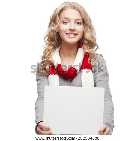 young happy smiling casual  blond woman holding sign isolated on white - stock photo