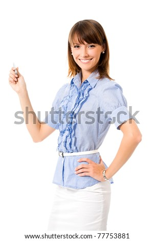 Young happy smiling showing business woman, isolated on white background - stock photo