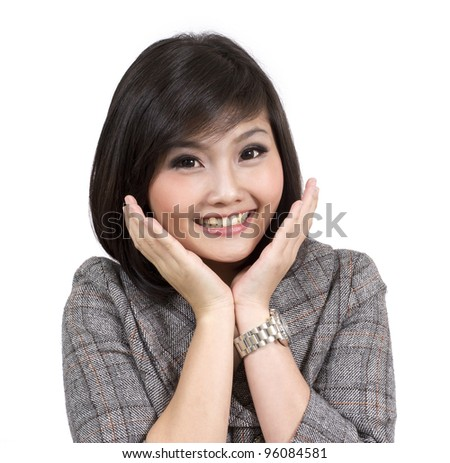 young happy smiling surprised business woman - stock photo