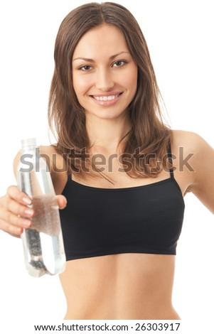 Young happy smiling woman in sportswear with water, isolated