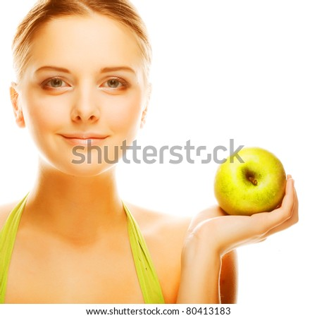 Young happy smiling woman with apple, isolated on white - stock photo