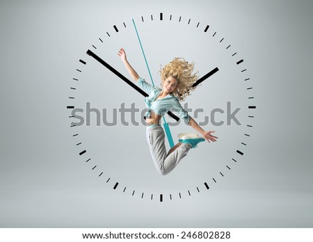 Young happy sporty woman - stock photo