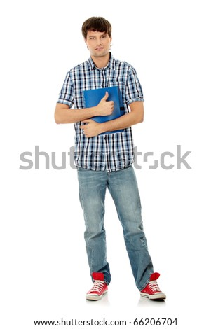 Young happy student man with notebook gesturing OK,isolated on a white background - stock photo
