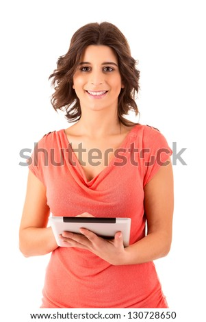 Young  happy student working with a new digital tablet computer, isolated