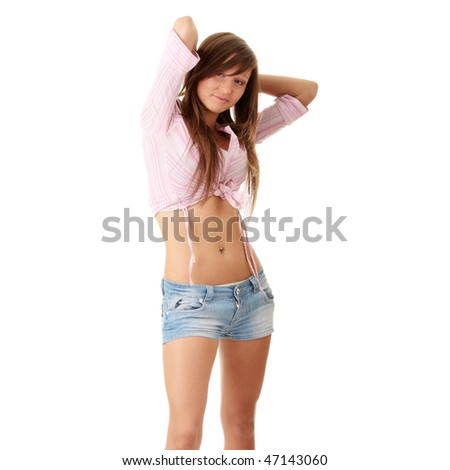 Young happy summer caucasian girl in shorts isolated on white background