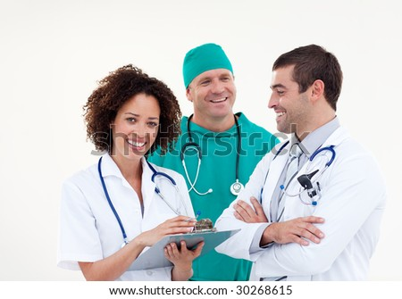 Young Happy Team of Doctors Working Together
