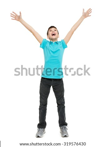 Young happy teen boy with  in casuals with raised hands up isolated on white background. - stock photo