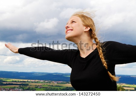 Young, happy woman - stock photo