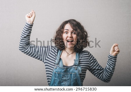 young happy woman dancing - stock photo