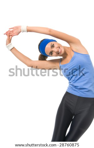 Young happy woman doing fitness exercises, isolated on white