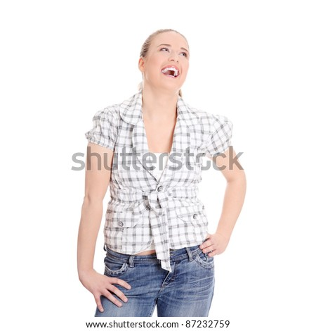 Young happy woman laughing. - stock photo