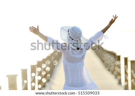 young happy woman outdoor in summer