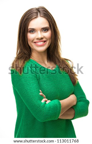 Young happy woman  portrait . isolated on white background - stock photo
