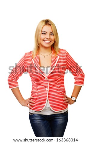Young happy woman standing isolated on white background - stock photo