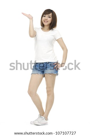 Young happy woman stretching up hands