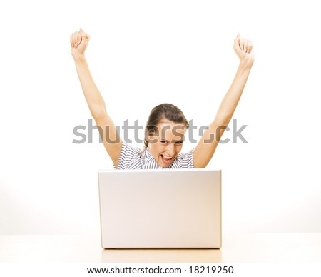 young happy woman with laptop over white background