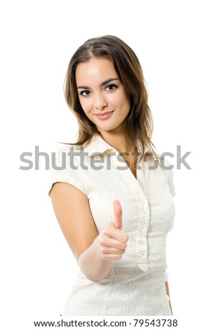 Young happy woman with thumbs up gesture, isolated on white background - stock photo