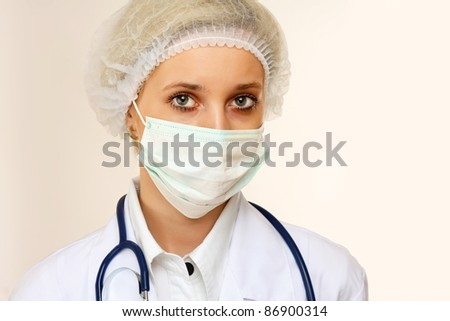 Young healthcare female portrait isolated