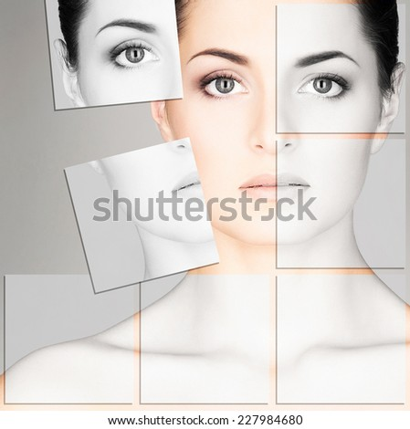 Young, healthy and beautiful girl (plastic surgery, beauty medicine, cosmetics and visage mosaic concept) - stock photo