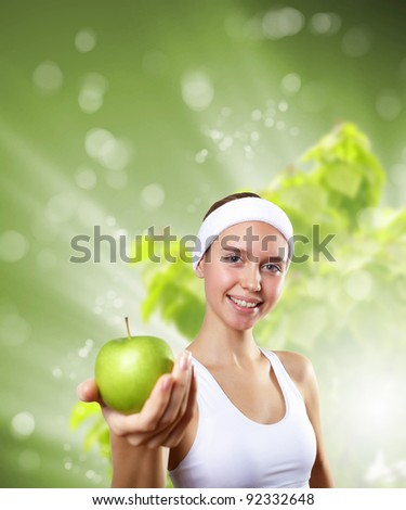 Young healthy and fit woman doing sport - stock photo