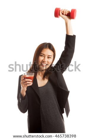 Young healthy Asian business woman with dumbbell and  tomato juice  isolated on white background.