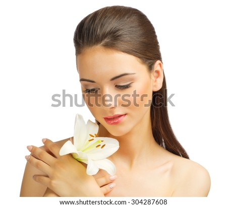 Young healthy girl with flower isolated - stock photo