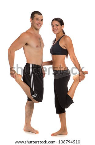 Young Healthy Looking Fit Couple Workout  Together Isolated on White Background - stock photo