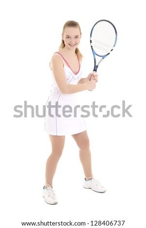 young healthy sporty woman with tennis racket over white
