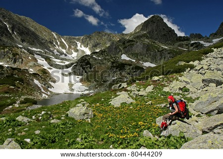 Young hiking girl sitting and admiring the wild panorama in the middle of mountains - stock photo