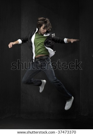 young hip-hop dancer - stock photo
