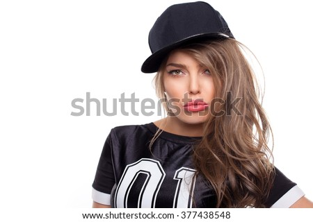 Young hip hop woman portrait isolated on white bg - stock photo