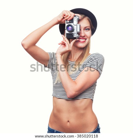young hipster woman in funky clothes isolated on white background - stock photo