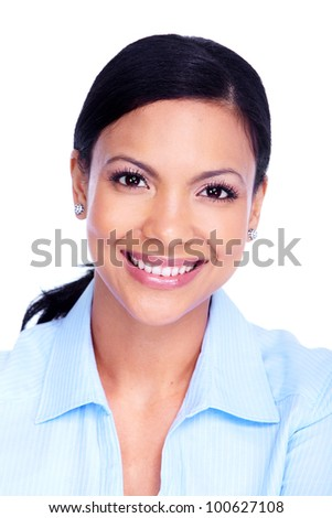 Young hispanic business woman. Isolated on white background.