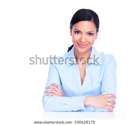 Young hispanic business woman. Isolated on white background. - stock photo