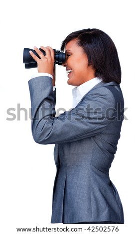 Young hispanic businesswoman using binoculars against a white background
