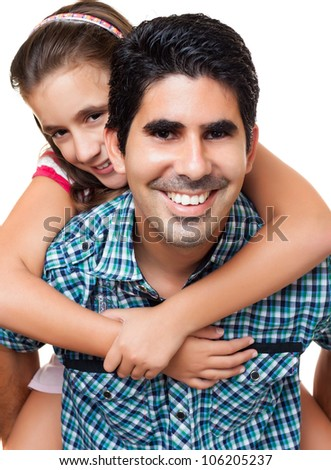 Young hispanic father playing with his beautiful daughter isolated on white