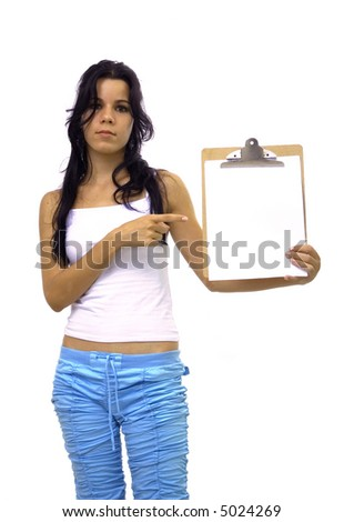 Young hispanic girl pointing towards a blank paper - isolated over white