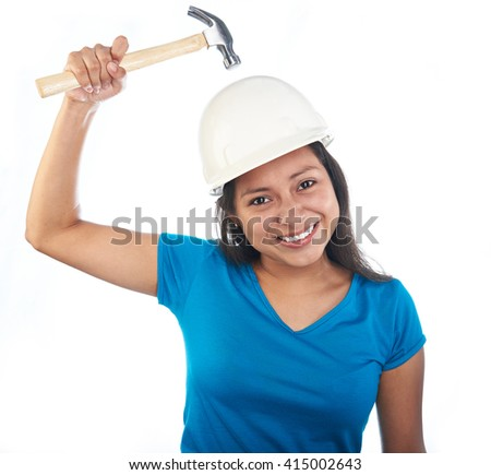 young hispanic girl with hammer hit her head isolated on white