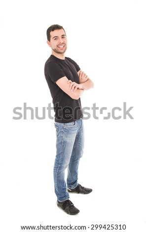 young hispanic man posing with crossed arms isolated on white - stock photo