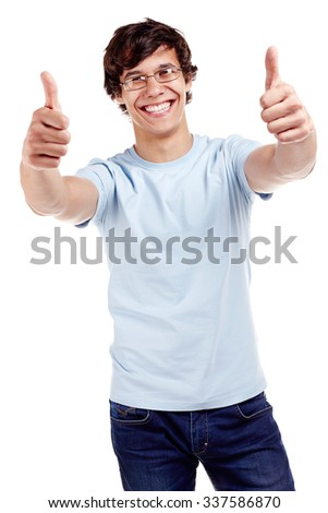 Young hispanic man wearing glasses, blue t-shirt and jeans showing thumb up hand gesture with both hands and smiling isolated on white background - success concept - stock photo