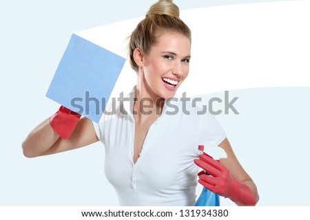 young housewife cleaning on white background - stock photo