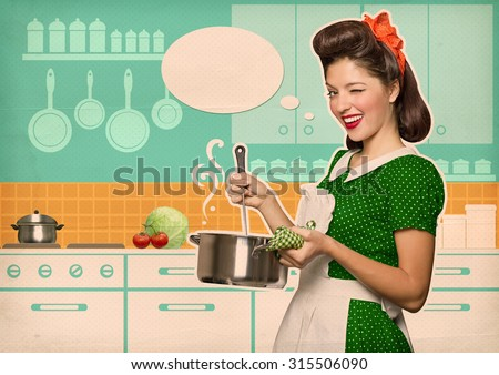 Young housewife cooking soup in her kitchen room with speech bubble.Reto style poster on old paper - stock photo