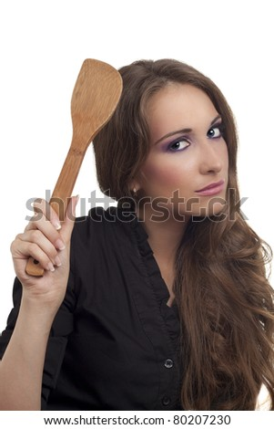 Young housewife upset and warning on white background