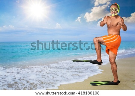 Young humorous Nepalese swimmer. - stock photo